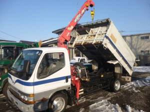 1996 mitsubishi canter dump truck with crane for sale in japan